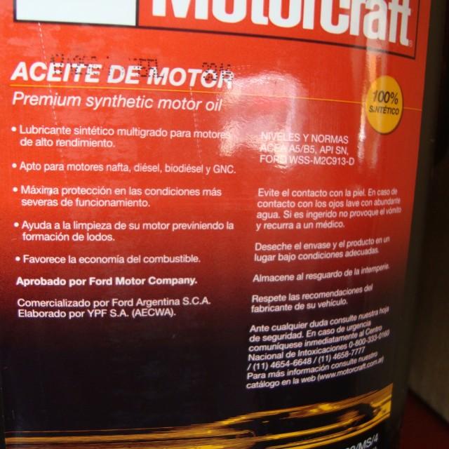 ACEITE 5W-30 MOTORCRAFT 100% SINTÉTICO 4 litros OFERTA