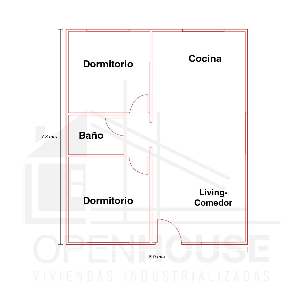 Plano 44 mts, Open House Viviendas, Venado Tuerto