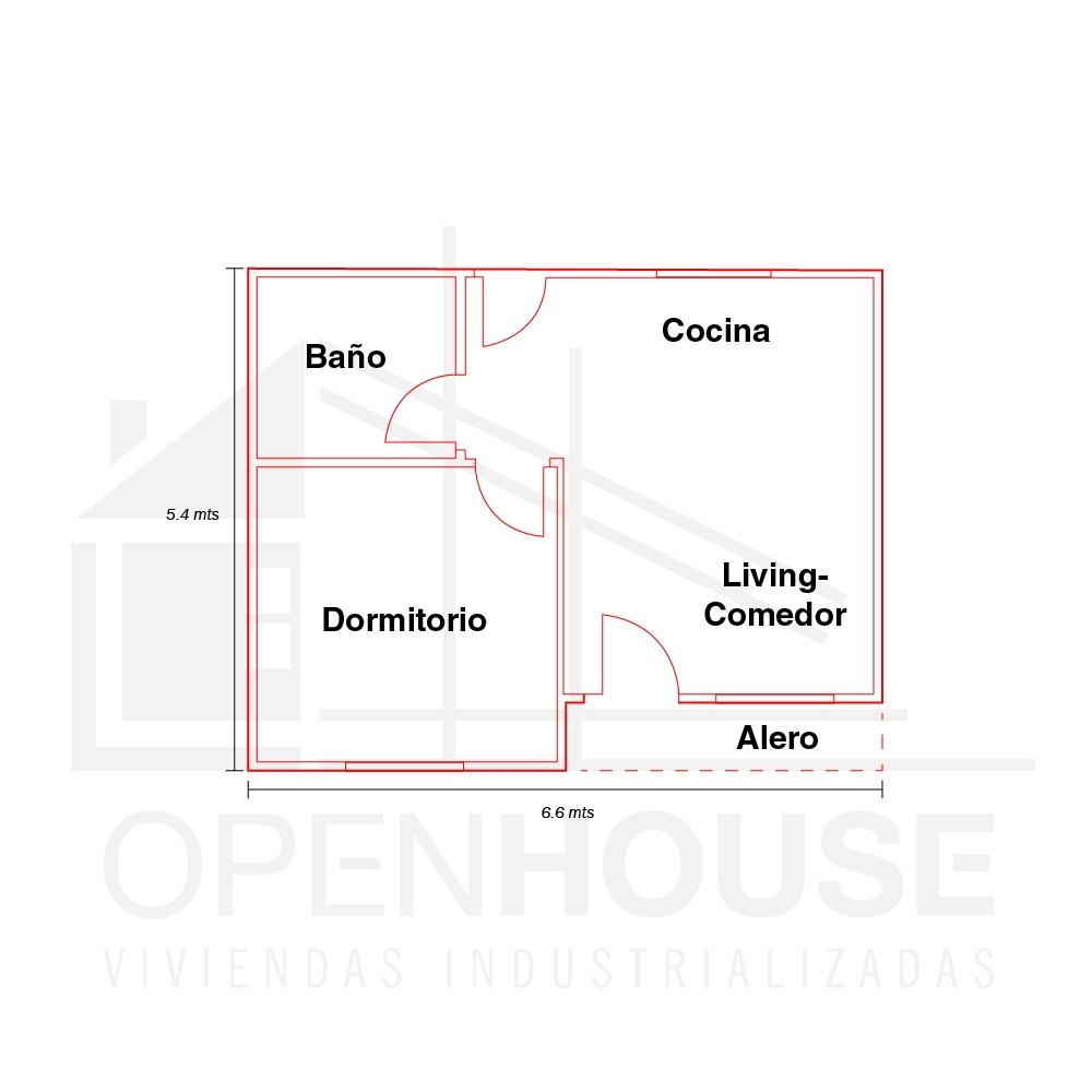 Plano 36 mts, Open House Viviendas, Venado Tuerto