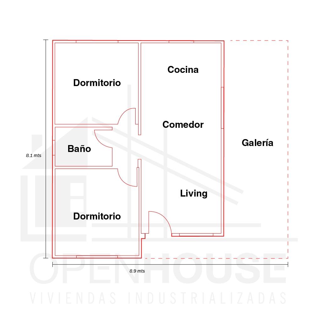 Plano 52 mts con galeria, Open House Viviendas, Venado Tuerto