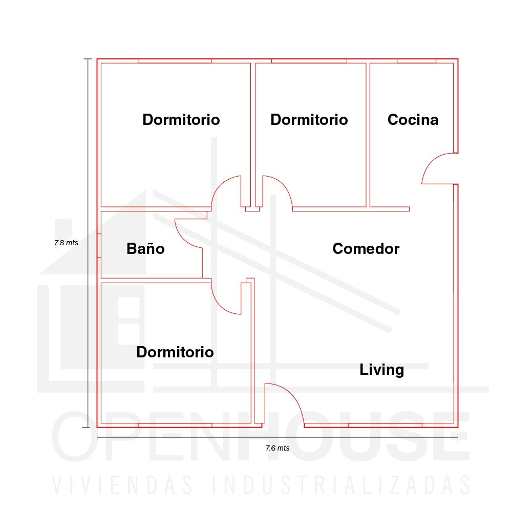 Plano 59 mts, Open House Viviendas, Venado Tuerto