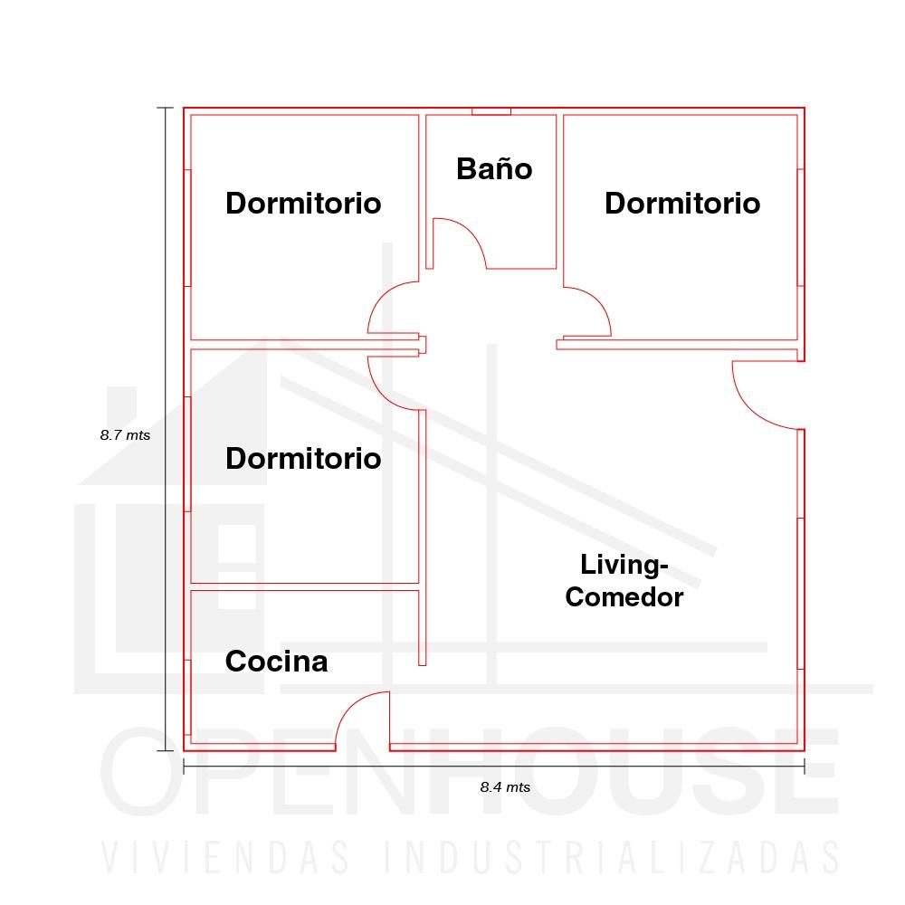 Plano 73 mts, Open House Viviendas, Venado Tuerto