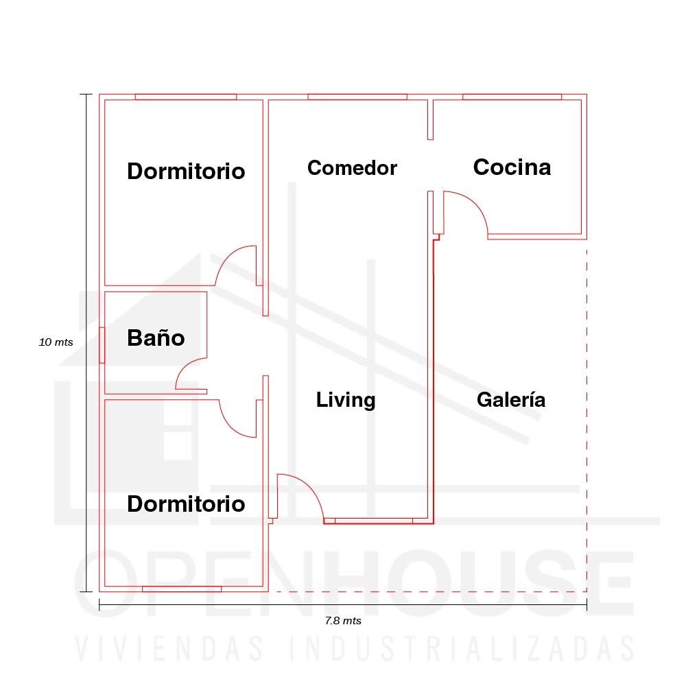 Plano 78 Mts con galeria, Open House Viviendas, Venado Tuerto