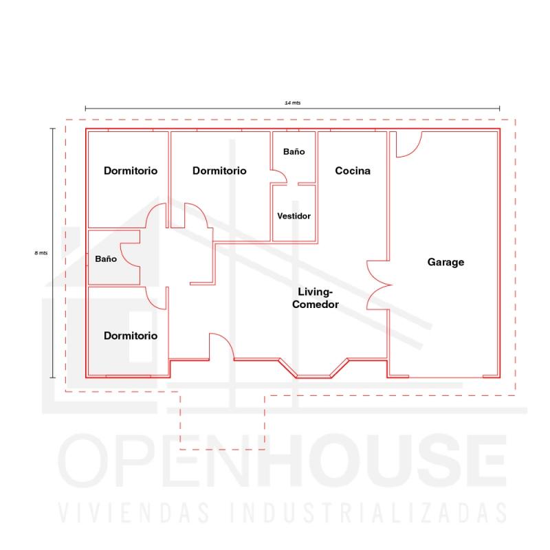 Plano 112 Mts con garage, Open House Viviendas, Venado Tuerto