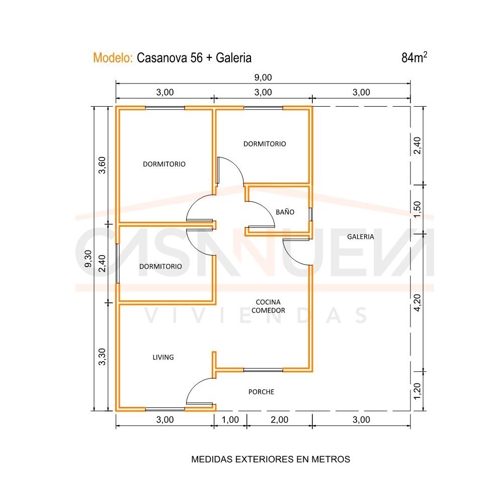 MODELO CASANOVA CON GALERIA, Casa Nueva Viviendas, venado tuerto